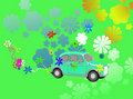 Flower Power hippie car fantasy Stock Images