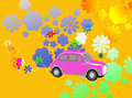 Flower Power hippie car fantasy Stock Photos