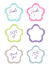 Flower price tags polka dot on white background Stock Photography