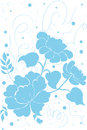 Flower print vector blue on white background Stock Images