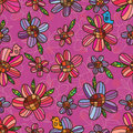 Flower purple pink symmetry seamless pattern Royalty Free Stock Photo