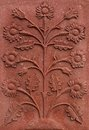 Flower relief red stone architectural with close up Royalty Free Stock Photos