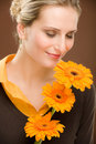 Flower romantic woman hold gerbera daisy Stock Photo