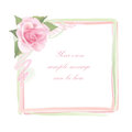 Flower rose frame isolated on white background floral vector decor with pink roses Royalty Free Stock Photography
