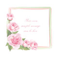 Flower rose frame isolated on white background floral vector decor with pink roses Stock Photography