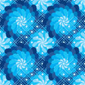 Flower rotate windmill blue diamond shape seamless pattern this illustration is color like in design with Stock Photos