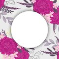 Flower round drawing - hot pink flowers