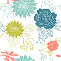 Flower seamless background blue Stock Photos