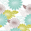 Flower seamless background blue and green Royalty Free Stock Photo