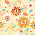 Flower seamless pattern with autumn colors Stock Photos