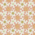 Flower Seamless Pattern in Beige and Kaki - Pale Pastel Colors Royalty Free Stock Photo