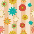 Flower seamless pattern on a striped background Stock Images
