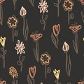 Flower seamless pattern for your design in retro style. Royalty Free Stock Photo