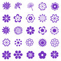 Flower set purple flowers icon Stock Images