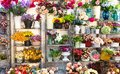 Flower shop, bouquets on shelf, florist business Royalty Free Stock Photo