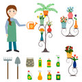Flower shop florist and gardening icons.