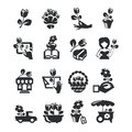 Flower shop icons authors illustration in vector Stock Image