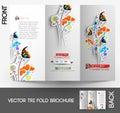 Flower shop tri fold brochure mock up design Royalty Free Stock Image