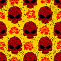 Flower skull seamless pattern in grunge style. Royalty Free Stock Photo