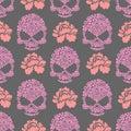 Flower skull seamless pttern. Skull of pink flowers and roses Royalty Free Stock Photo