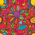 Flower smile drawing seamless pattern Royalty Free Stock Photo