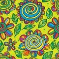 Flower snail seamless pattern Royalty Free Stock Photo