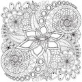 Flower swirl coloring page pattern