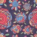 Flower swirl inside seamless pattern Royalty Free Stock Photo
