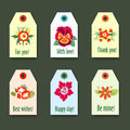 Flower tags with logo Set - On green Background - Vector Illustration, Graphic Design Editable For Your company