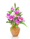 Flower vase artificial arrangement on white background Royalty Free Stock Photography