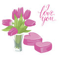 Flower vase and two pink hearts. Flower vase isolated icon on white background. Vase of flowers. Pink tulips. Flat style  il Royalty Free Stock Photo
