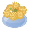 Flower vase with yellow flowers. Flat colored floristic icons isolated on white background. Royalty Free Stock Photo