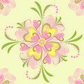 Flower Vector heart stripe seamless pattern Royalty Free Stock Image
