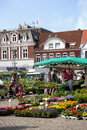 Flower and vegetables market in husum schleswig holstein place the seaport city the north of germany with people Stock Photography