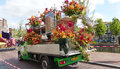 Flower vehicle annual parade haarlem the netherlands Stock Photos