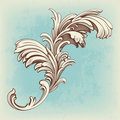 Flower vintage pattern engraving scroll motif Royalty Free Stock Image