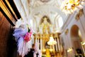 a flower wedding decoration in a church Royalty Free Stock Photo