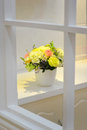 Flower in window a basin of fresh white Royalty Free Stock Photography