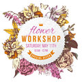 Flower workshop paper label on floral background Royalty Free Stock Photo
