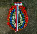 A flower wreath in colors of the Serbian flag Royalty Free Stock Photo