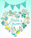 Flower wreath with hand drawn text Stock Photo