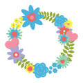 Flower wreath with pastel flowers digital illustration vector of a can be used for creating cards like birthday cards baby cards Royalty Free Stock Photography