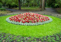 Flowerbed in city park colorful oval shaped gdansk poland Stock Image