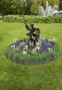 Flowerbed in park round gothenburg central Royalty Free Stock Photo