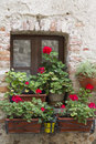 Flowered balcony of the house Stock Photo