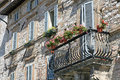 Flowered balcony in a terrace Royalty Free Stock Photo