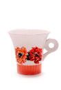 Flowered tea cup retro isolated on white Stock Image