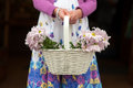 Flowergirl with basket of flowers at a wedding chrysanthemum Royalty Free Stock Photos