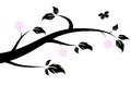 Flowering spring branch silhouette of a with a butterfly Stock Image