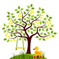 Flowering tree with swing and duck pull toy Royalty Free Stock Photo